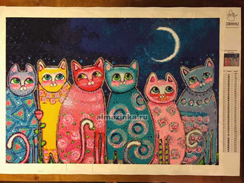 Вышивка кошка разноцветная
